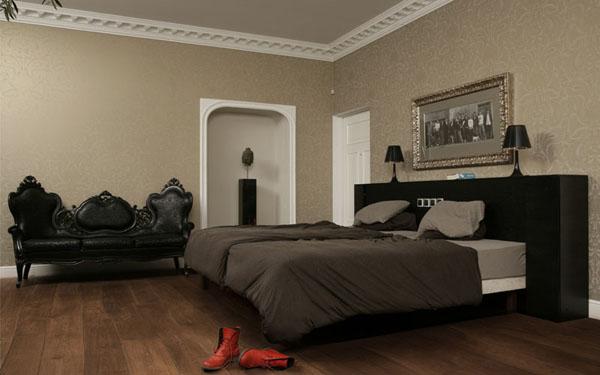 lenktu lentu grindys klasikinis miegamasis