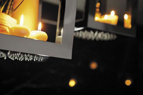 stačiakampės dušo galvutės lentynėlės, zvakiu sviesa