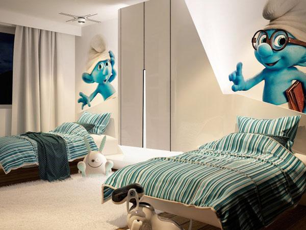futuristinis 2 vaiku kambarys piesiniai ant sienos