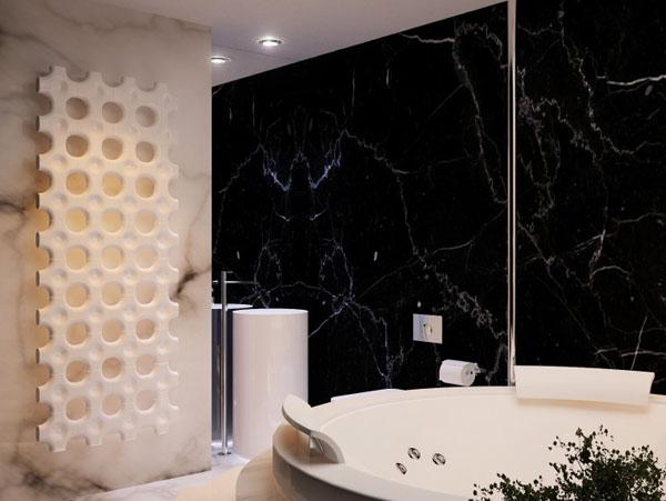 futuristinis butas apvali vonia dekoratyvinis radiatorius