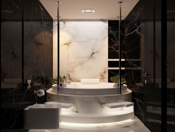 futuristinis butas apvali vonia
