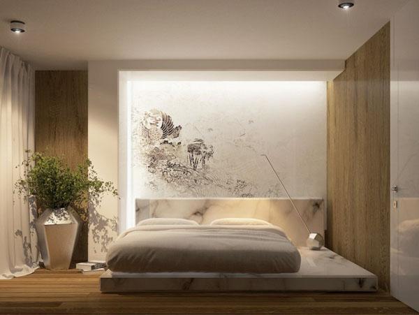 futuristinis miegamasis gele vaza