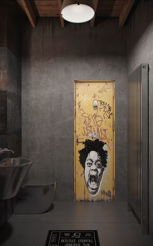 industrinis loftas tualetas