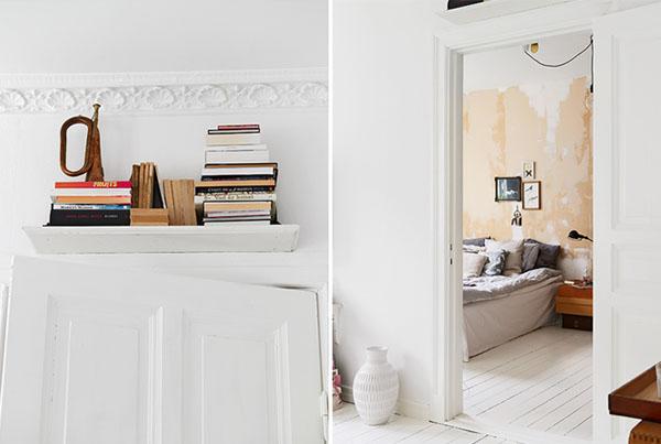 pasteliskai gelsva ruda balta miegamajame, durys