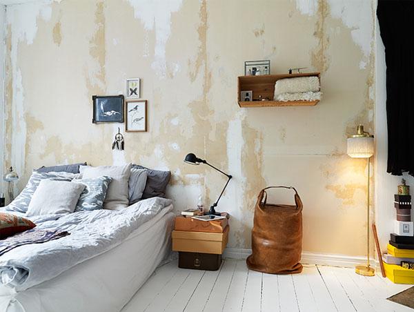 pasteliskai gelsva ruda balta miegamajame