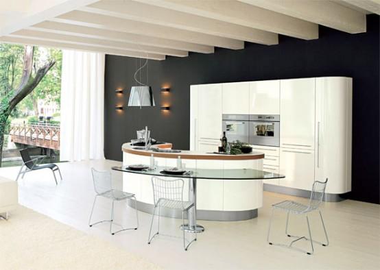 lenktu formu sala stiklinis baras virtuveje