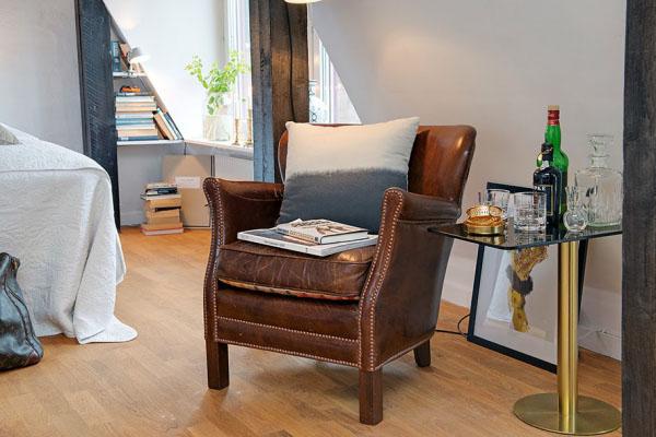 odinis rudas fotelis svetaineje