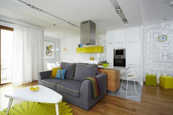 raides geltona spalva sienos svetaineje virtuveje
