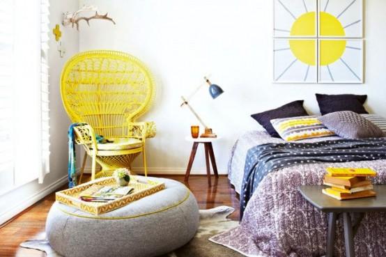 geltona kede, paveikslas, miegamasis