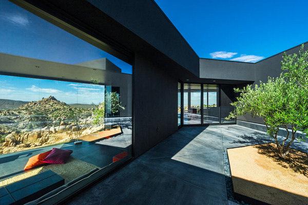 juodas namas, vidaus kiemas, medelis, stiklas